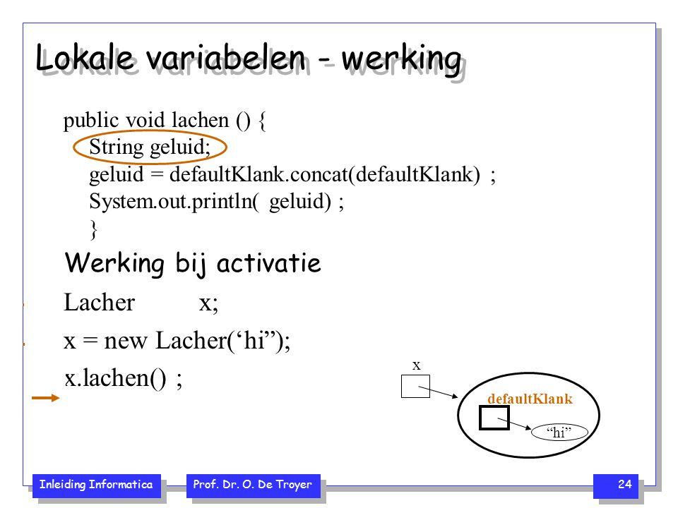 Inleiding Informatica Prof. Dr. O. De Troyer 24 Lokale variabelen - werking public void lachen () { String geluid; geluid = defaultKlank.concat(defaul