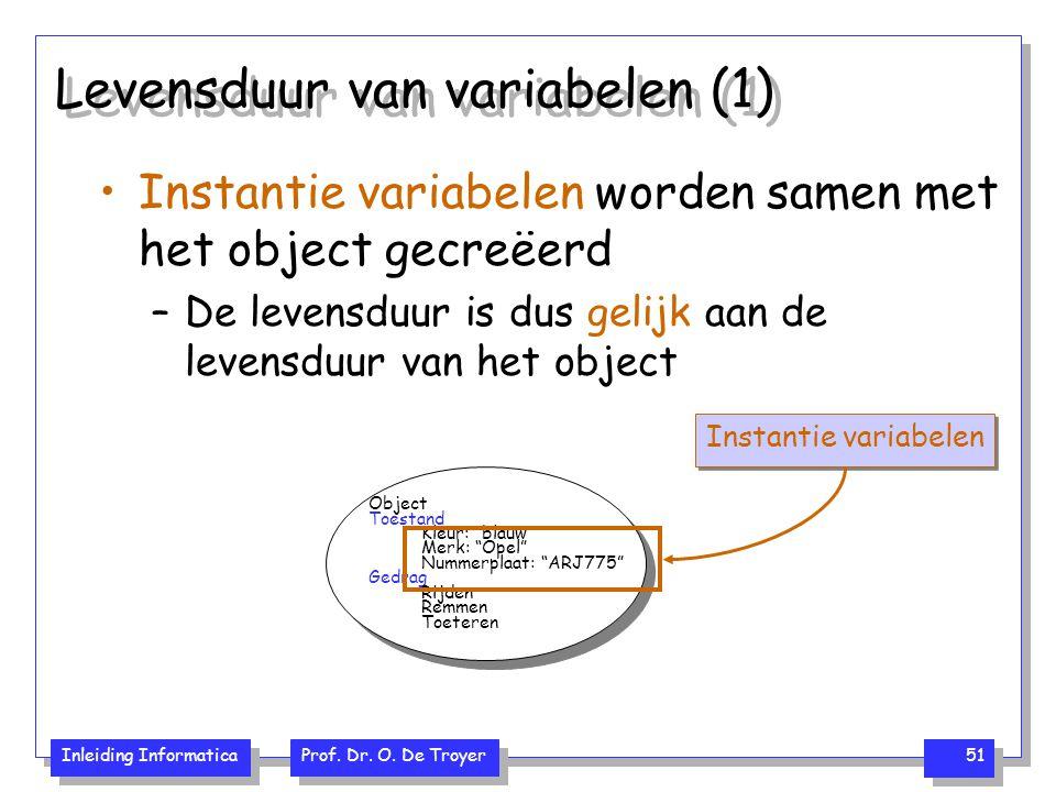 Inleiding Informatica Prof. Dr. O. De Troyer 51 Levensduur van variabelen (1) Instantie variabelen worden samen met het object gecreëerd –De levensduu