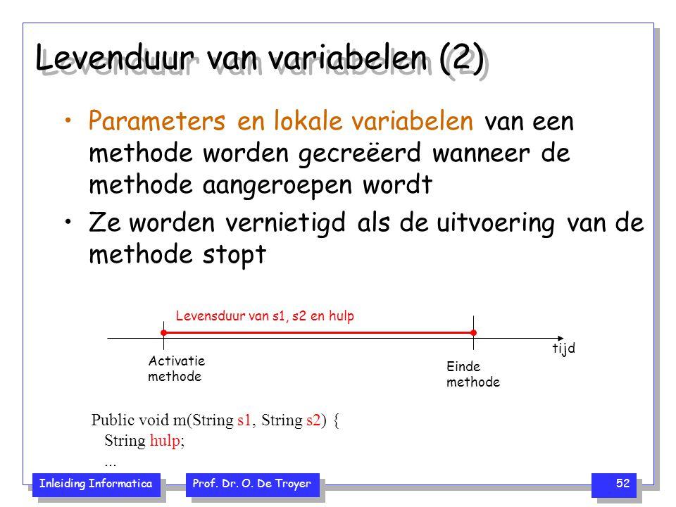 Inleiding Informatica Prof. Dr. O. De Troyer 52 Levenduur van variabelen (2) Parameters en lokale variabelen van een methode worden gecreëerd wanneer