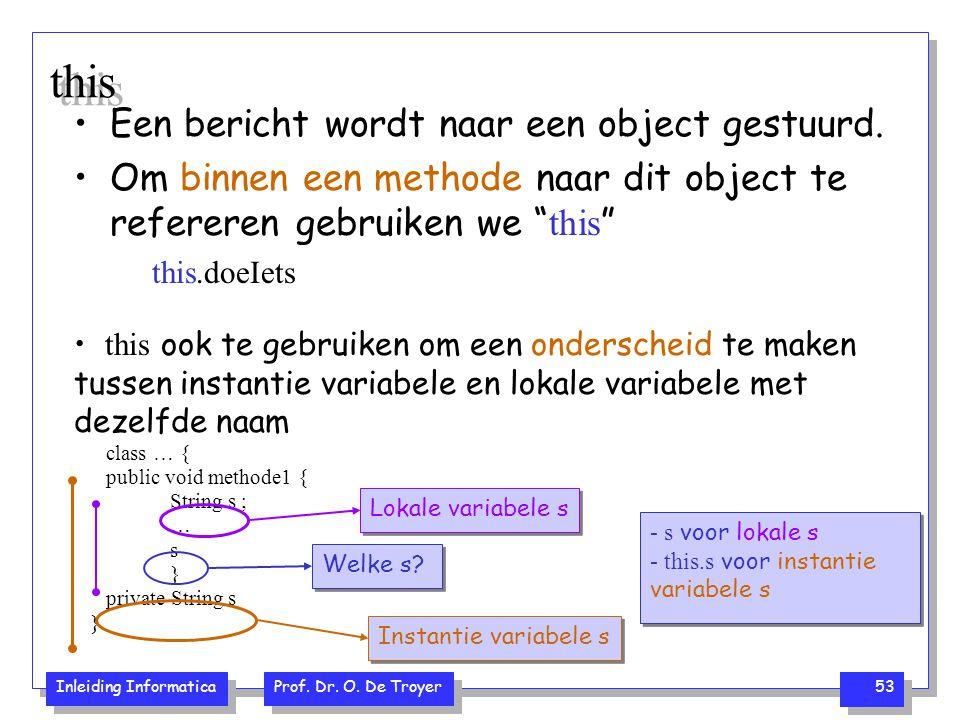 Inleiding Informatica Prof. Dr. O. De Troyer 53 this ook te gebruiken om een onderscheid te maken tussen instantie variabele en lokale variabele met d