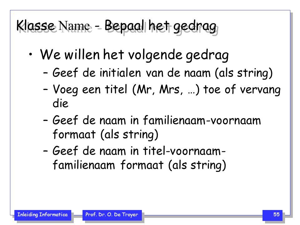 Inleiding Informatica Prof. Dr. O. De Troyer 55 Klasse Name - Bepaal het gedrag We willen het volgende gedrag –Geef de initialen van de naam (als stri