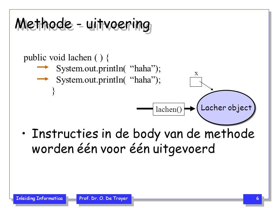 "Inleiding Informatica Prof. Dr. O. De Troyer 6 Methode - uitvoering public void lachen ( ) { System.out.println( ""haha""); } x Lacher object lachen() I"