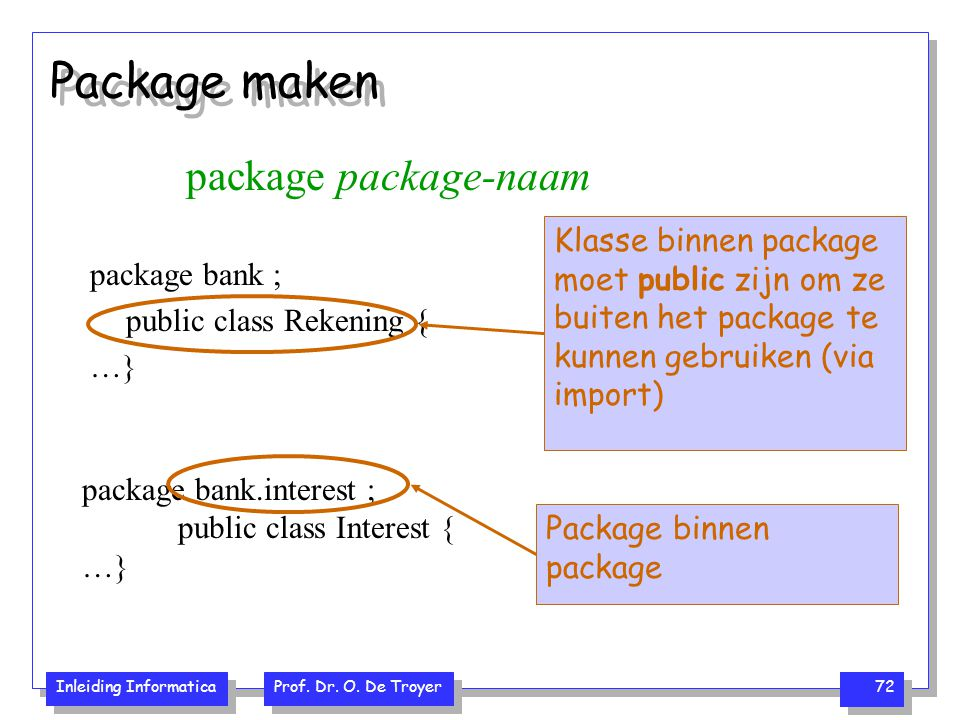 Inleiding Informatica Prof. Dr. O. De Troyer 72 Package maken package package-naam package bank ; public class Rekening { …} Klasse binnen package moe