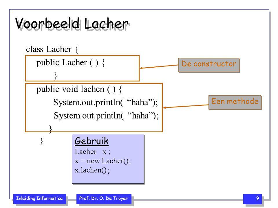 """Inleiding Informatica Prof. Dr. O. De Troyer 9 Voorbeeld Lacher class Lacher { public Lacher ( ) { } public void lachen ( ) { System.out.println( """"hah"""