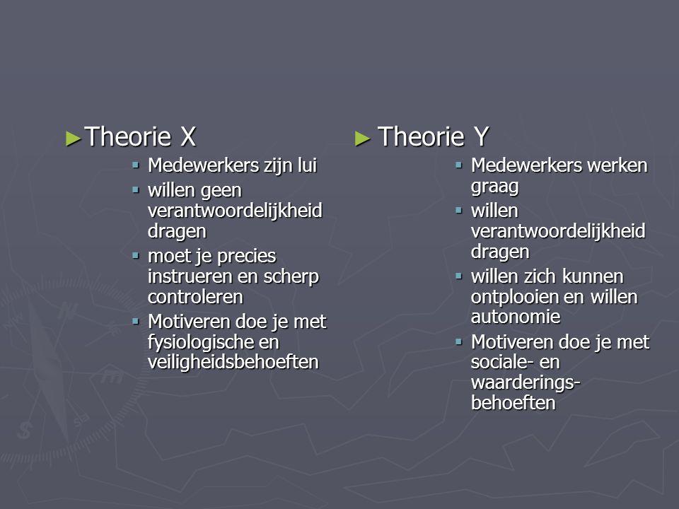 ► Theorie X  Medewerkers zijn lui  willen geen verantwoordelijkheid dragen  moet je precies instrueren en scherp controleren  Motiveren doe je met