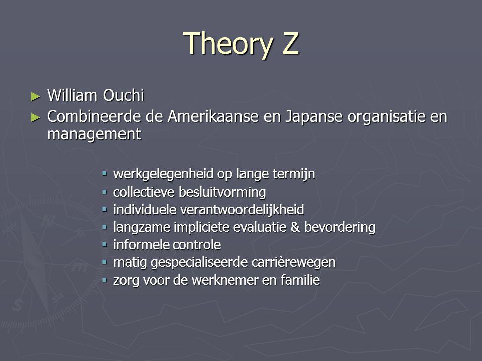 Theory Z ► William Ouchi ► Combineerde de Amerikaanse en Japanse organisatie en management  werkgelegenheid op lange termijn  collectieve besluitvor