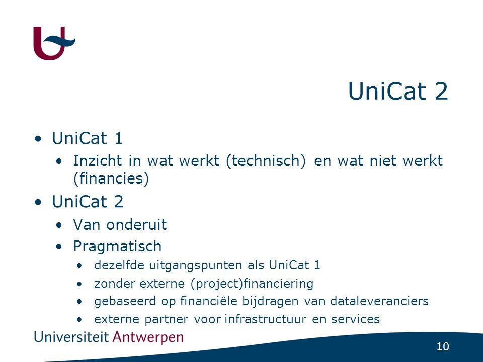 10 UniCat 2 UniCat 1 Inzicht in wat werkt (technisch) en wat niet werkt (financies) UniCat 2 Van onderuit Pragmatisch dezelfde uitgangspunten als UniCat 1 zonder externe (project)financiering gebaseerd op financiële bijdragen van dataleveranciers externe partner voor infrastructuur en services