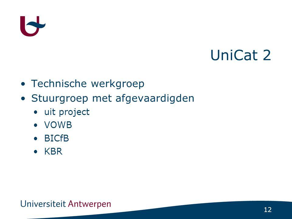 12 UniCat 2 Technische werkgroep Stuurgroep met afgevaardigden uit project VOWB BICfB KBR