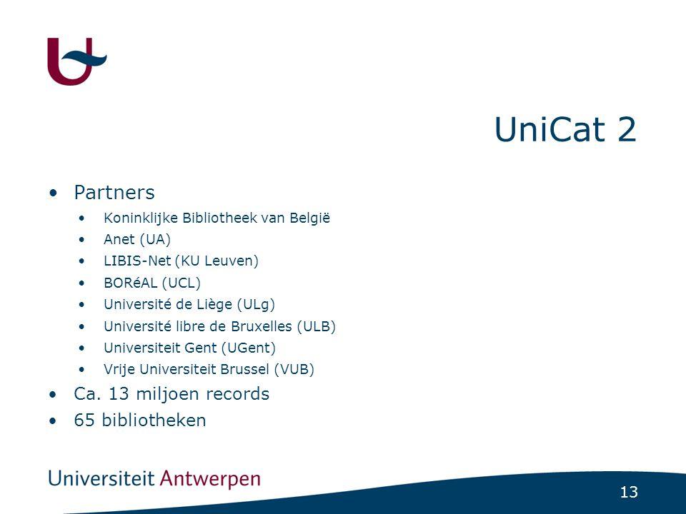 13 UniCat 2 Partners Koninklijke Bibliotheek van België Anet (UA) LIBIS-Net (KU Leuven) BORéAL (UCL) Université de Liège (ULg) Université libre de Bruxelles (ULB) Universiteit Gent (UGent) Vrije Universiteit Brussel (VUB) Ca.