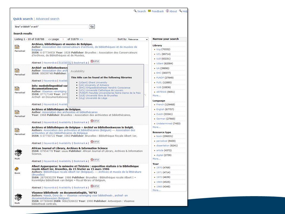 19 Deelnemen aan UniCat Belgische bibliotheek Wetenschappelijke collecties Open voor publiek Kosten Eenmalige setup kost (€ 500) Jaarlijkse vaste kost (€ 500) Jaarlijkse variabele kost (€ 2 per duizend records) Contract met SemperTool