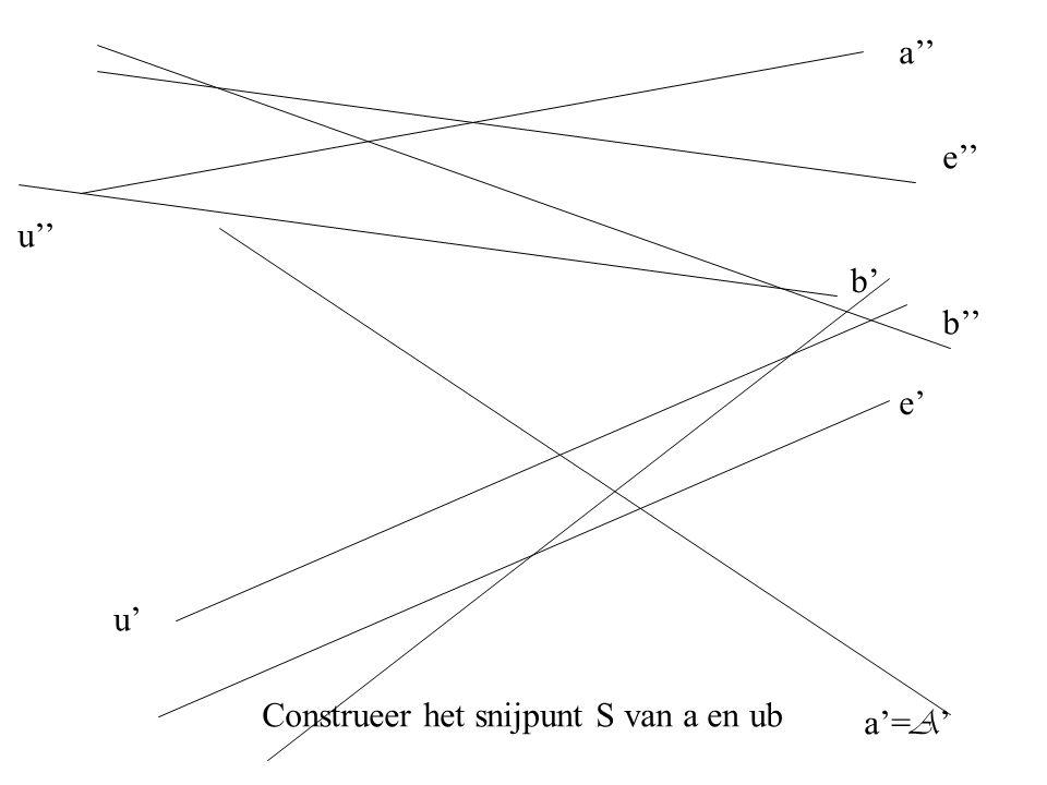a'' a'= A ' b'' b' e'' e' u'' u' Construeer het snijpunt S van a en ub