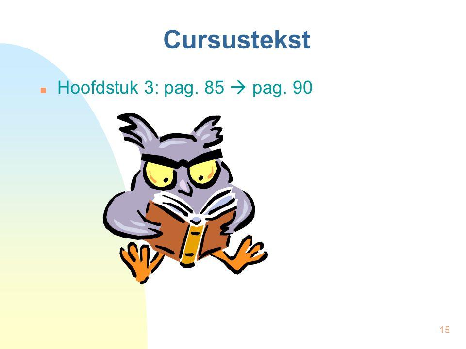 15 Cursustekst Hoofdstuk 3: pag. 85  pag. 90