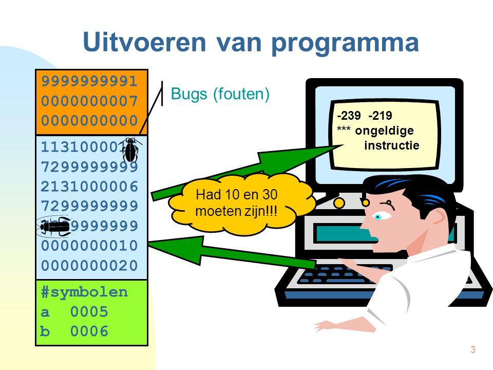 14 Speurprogrammma voor HPT Symbolic Debugger Meedelen aan compilator  Geen optimisaties  Extra informatie in objectmodule  Bestand bronprogramma  Lijnnummer in bronprogramma  …