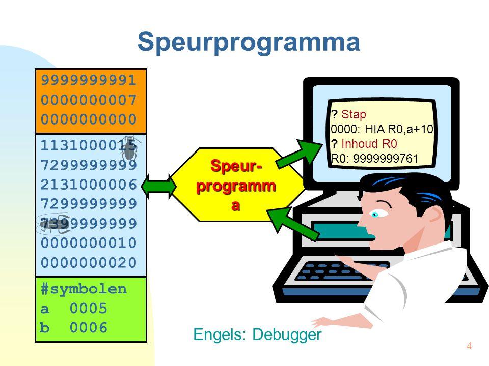 4 Speurprogramma Speur- programm a . Stap 0000: HIA R0,a+10 .