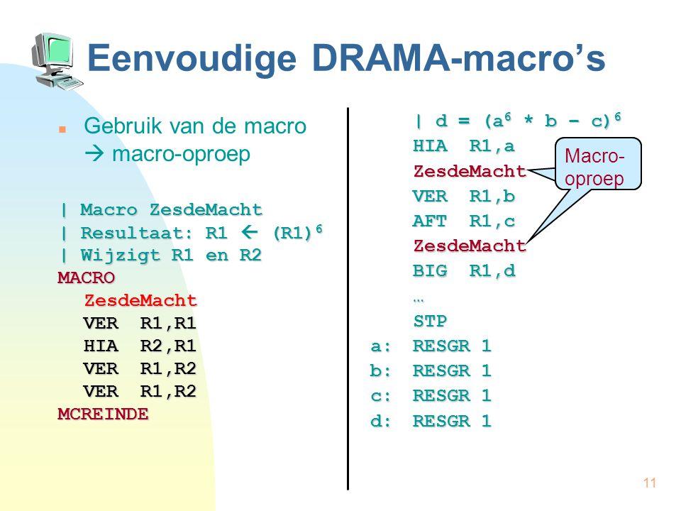 11 Eenvoudige DRAMA-macro's Gebruik van de macro  macro-oproep | Macro ZesdeMacht | Resultaat: R1  (R1) 6 | Wijzigt R1 en R2 MACROZesdeMacht VER R1,R1 HIA R2,R1 VER R1,R2 MCREINDE | d = (a 6 * b – c) 6 HIA R1,a …STP a:RESGR 1 b:RESGR 1 c:RESGR 1 d:RESGR 1 Macro- oproep ZesdeMacht ZesdeMacht VER R1,b AFT R1,c BIG R1,d
