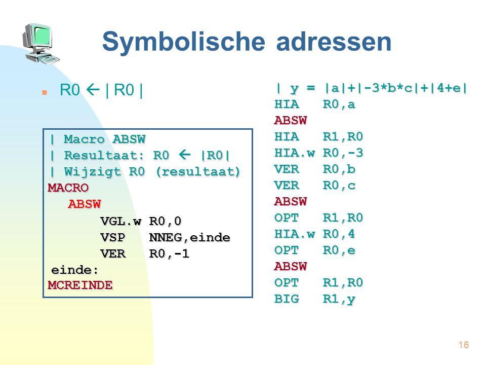 16 Symbolische adressen R0  | R0 | | y = |a|+|-3*b*c|+|4+e| HIA R0,a ABSW HIA R1,R0 HIA.w R0,-3 VER R0,b VER R0,c ABSW OPT R1,R0 HIA.w R0,4 OPT R0,e ABSW OPT R1,R0 BIG R1,y | Macro ABSW | Resultaat: R0  |R0| | Wijzigt R0 (resultaat) MACROABSW MCREINDE VGL.w R0,0 VER R0,-1 einde: VSP NNEG,einde