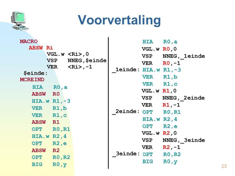 23 Voorvertaling MACRO ABSW Ri VGL.w,0 VSP NNEG,$einde VER,-1 $einde: $einde:MCREIND HIA R0,a HIA R0,a ABSW R0 HIA.w R1,-3 VER R1,b VER R1,c ABSW R1 OPT R0,R1 HIA.w R2,4 OPT R2,e ABSW R2 OPT R0,R2 BIG R0,y HIA R0,a ABSW R0 HIA.w R1,-3 VER R1,b VER R1,c ABSW R1 OPT R0,R1 HIA.w R2,4 OPT R2,e ABSW R2 OPT R0,R2 BIG R0,y VGL.w R0,0 VSP NNEG,_1einde VER R0,-1 _1einde: VGL.w R1,0 VSP NNEG,_2einde VER R1,-1 _2einde: VGL.w R2,0 VSP NNEG,_3einde VER R2,-1 _3einde: