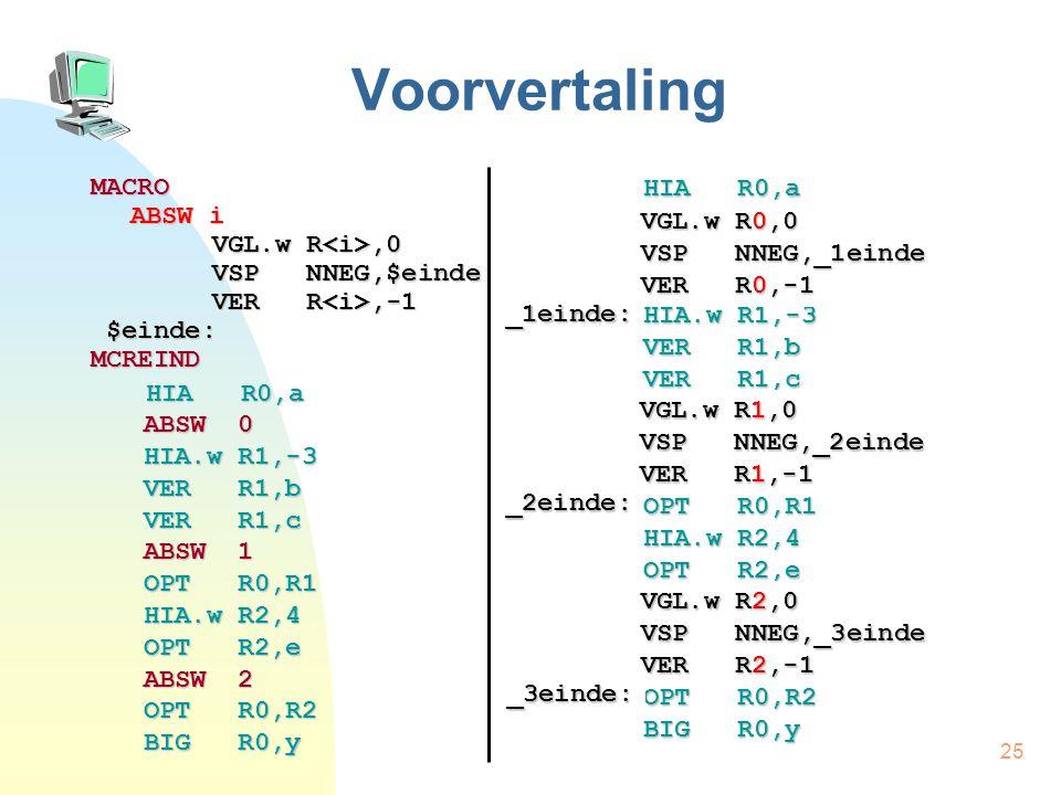 25 Voorvertaling MACRO ABSW i VGL.w R,0 VSP NNEG,$einde VER R,-1 $einde: $einde:MCREIND HIA R0,a HIA R0,a ABSW 0 HIA.w R1,-3 VER R1,b VER R1,c ABSW 1 OPT R0,R1 HIA.w R2,4 OPT R2,e ABSW 2 OPT R0,R2 BIG R0,y HIA R0,a ABSW 0 HIA.w R1,-3 VER R1,b VER R1,c ABSW 1 OPT R0,R1 HIA.w R2,4 OPT R2,e ABSW 2 OPT R0,R2 BIG R0,y VGL.w R0,0 VSP NNEG,_1einde VER R0,-1 _1einde: VGL.w R1,0 VSP NNEG,_2einde VER R1,-1 _2einde: VGL.w R2,0 VSP NNEG,_3einde VER R2,-1 _3einde: