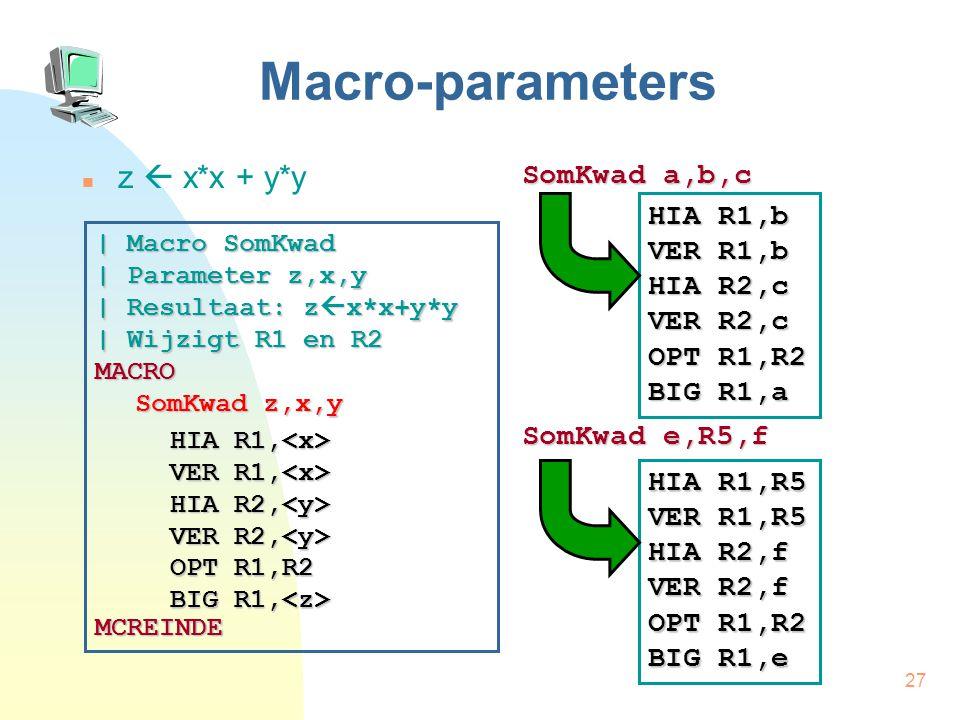 27 Macro-parameters z  x*x + y*y SomKwad a,b,c SomKwad e,R5,f | Macro SomKwad | Parameter z,x,y | Resultaat: z  x*x+y*y | Wijzigt R1 en R2 MACRO SomKwad z,x,y MCREINDE HIA R1, HIA R1, VER R1, VER R1, HIA R2, VER R2, HIA R2, VER R2, OPT R1,R2 BIG R1, OPT R1,R2 BIG R1, HIA R1,b VER R1,b HIA R2,c VER R2,c OPT R1,R2 BIG R1,a HIA R1,R5 VER R1,R5 HIA R2,f VER R2,f OPT R1,R2 BIG R1,e