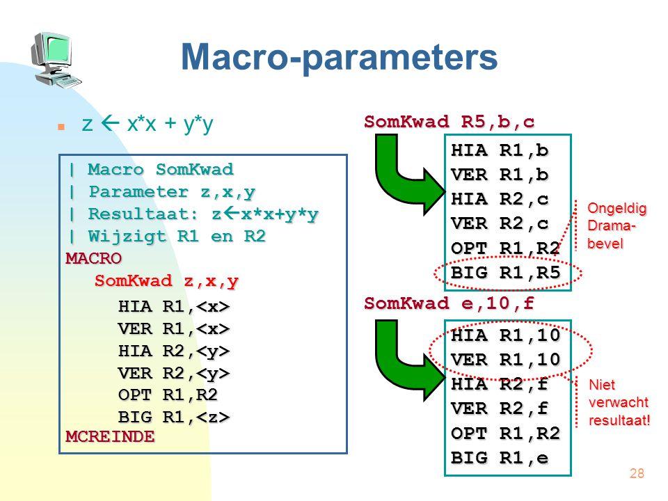 28 Macro-parameters z  x*x + y*y SomKwad R5,b,c SomKwad e,10,f | Macro SomKwad | Parameter z,x,y | Resultaat: z  x*x+y*y | Wijzigt R1 en R2 MACRO SomKwad z,x,y MCREINDE HIA R1, HIA R1, VER R1, VER R1, HIA R2, VER R2, HIA R2, VER R2, OPT R1,R2 BIG R1, OPT R1,R2 BIG R1, HIA R1,b VER R1,b HIA R2,c VER R2,c OPT R1,R2 BIG R1,R5 HIA R1,10 VER R1,10 HIA R2,f VER R2,f OPT R1,R2 BIG R1,e Ongeldig Drama- bevel Niet verwacht resultaat!
