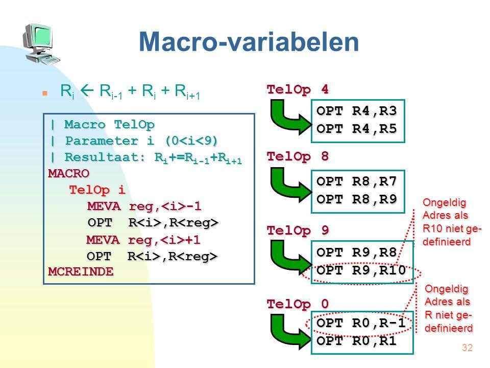 32 Macro-variabelen R i  R i-1 + R i + R i+1 TelOp 4 TelOp 8 TelOp 9 TelOp 0 | Macro TelOp | Parameter i (0<i<9) | Resultaat: R i +=R i-1 +R i+1 MACRO TelOp i MCREINDE MEVA reg, -1 OPT R,R OPT R,R MEVA reg, +1 OPT R,R OPT R,R OPT R4,R3 OPT R4,R5 OPT R8,R7 OPT R8,R9 Ongeldig Adres als R10 niet ge- definieerd OPT R9,R8 OPT R9,R10 OPT R0,R-1 OPT R0,R1 Ongeldig Adres als R niet ge- definieerd