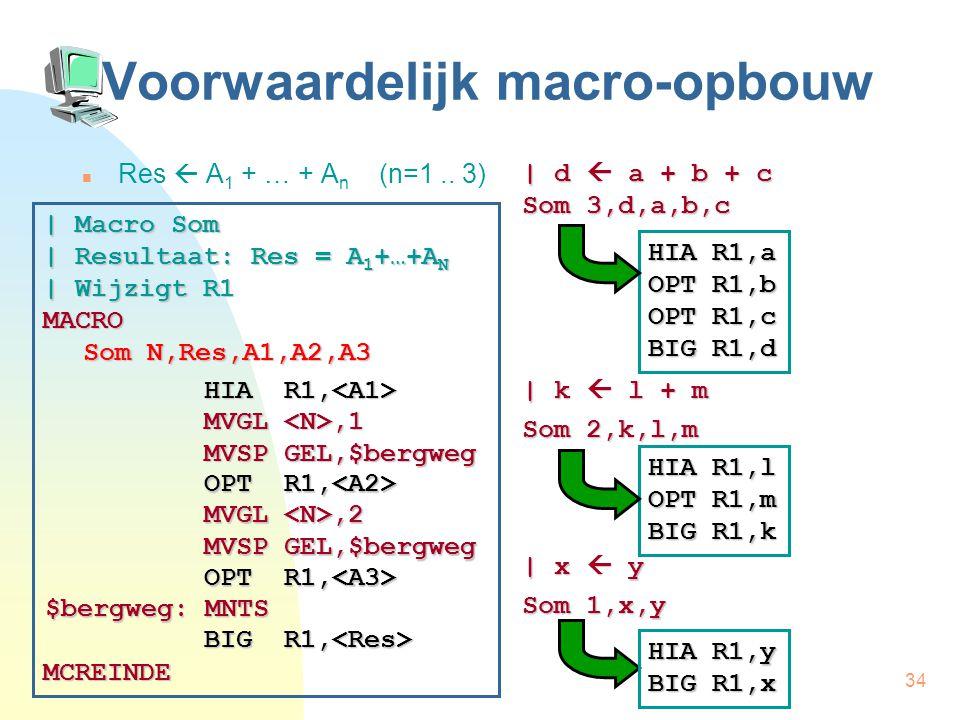 34 Voorwaardelijk macro-opbouw Res  A 1 + … + A n (n=1..