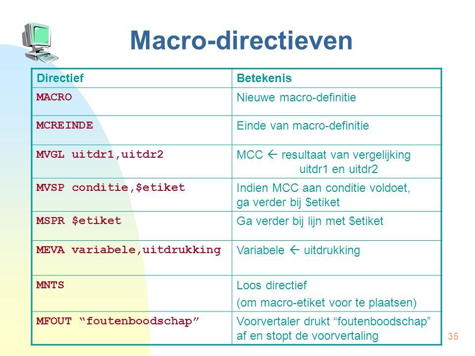 35 Macro-directieven DirectiefBetekenis MACRO Nieuwe macro-definitie MCREINDE Einde van macro-definitie MVGL uitdr1,uitdr2 MCC  resultaat van vergelijking uitdr1 en uitdr2 MVSP conditie,$etiket Indien MCC aan conditie voldoet, ga verder bij $etiket MSPR $etiket Ga verder bij lijn met $etiket MEVA variabele,uitdrukking Variabele  uitdrukking MNTS Loos directief (om macro-etiket voor te plaatsen) MFOUT foutenboodschap Voorvertaler drukt foutenboodschap af en stopt de voorvertaling