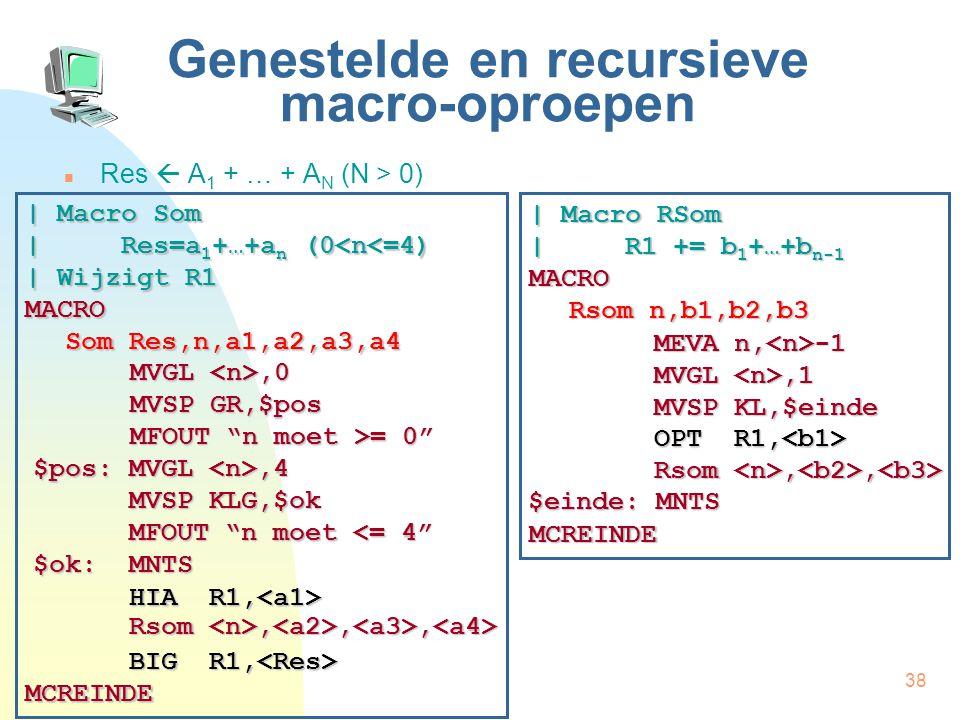 38 Genestelde en recursieve macro-oproepen Res  A 1 + … + A N (N > 0) | Macro Som | Res=a 1 +…+a n (0<n<=4) | Wijzigt R1 MACRO Som Res,n,a1,a2,a3,a4 MCREINDE HIA R1, HIA R1, Rsom,,, Rsom,,, BIG R1, BIG R1, MVGL,0 MVSP GR,$pos MFOUT n moet >= 0 | Macro RSom | R1 += b 1 +…+b n-1 MACRO Rsom n,b1,b2,b3 MCREINDE MEVA n, -1 MVGL,1 MVSP KL,$einde OPT R1, OPT R1, Rsom,, Rsom,, $einde: MNTS $pos: MVGL,4 MVSP KLG,$ok MFOUT n moet <= 4 $ok:MNTS