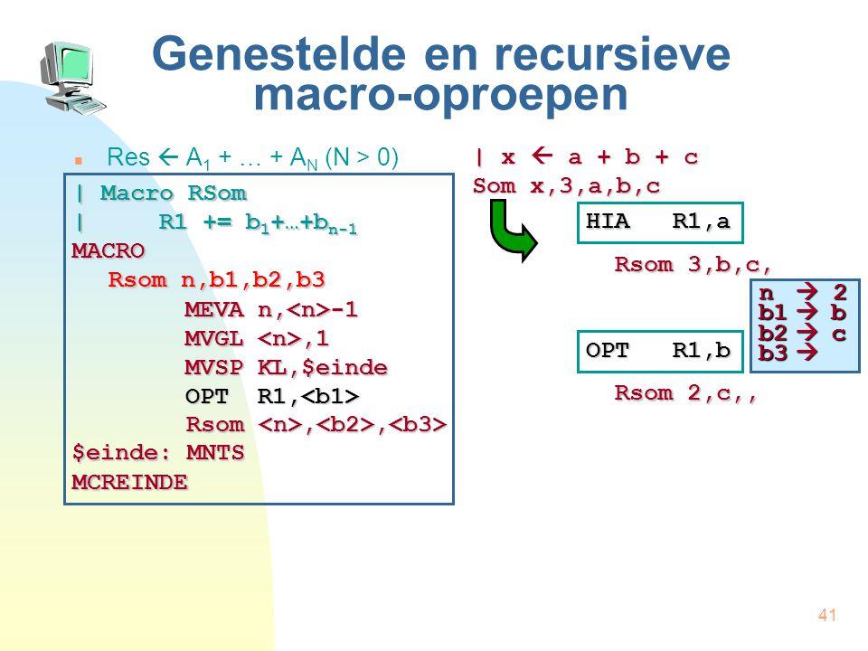 41 Genestelde en recursieve macro-oproepen Res  A 1 + … + A N (N > 0) | x  a + b + c Som x,3,a,b,c HIA R1,a Rsom 3,b,c, | Macro RSom | R1 += b 1 +…+b n-1 MACRO Rsom n,b1,b2,b3 MCREINDE MEVA n, -1 MVGL,1 MVSP KL,$einde OPT R1, OPT R1, Rsom,, Rsom,, $einde: MNTS OPT R1,b Rsom 2,c,, n  3 b1  b b2  c b3  n  2 b1  b b2  c b3 