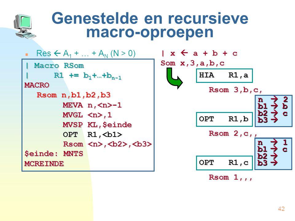 42 Genestelde en recursieve macro-oproepen Res  A 1 + … + A N (N > 0) | x  a + b + c Som x,3,a,b,c HIA R1,a Rsom 3,b,c, | Macro RSom | R1 += b 1 +…+b n-1 MACRO Rsom n,b1,b2,b3 MCREINDE MEVA n, -1 MVGL,1 MVSP KL,$einde OPT R1, OPT R1, Rsom,, Rsom,, $einde: MNTS OPT R1,b Rsom 2,c,, OPT R1,c Rsom 1,,, n  2 b1  b b2  c b3  n  2 b1  c b2  b3  n  1 b1  c b2  b3 