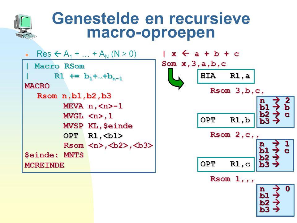 43 n  1 b1  b2  b3  Genestelde en recursieve macro-oproepen Res  A 1 + … + A N (N > 0) | x  a + b + c Som x,3,a,b,c HIA R1,a Rsom 3,b,c, | Macro RSom | R1 += b 1 +…+b n-1 MACRO Rsom n,b1,b2,b3 MCREINDE MEVA n, -1 MVGL,1 MVSP KL,$einde OPT R1, OPT R1, Rsom,, Rsom,, $einde: MNTS OPT R1,b Rsom 2,c,, OPT R1,c Rsom 1,,, n  2 b1  b b2  c b3  n  1 b1  c b2  b3  n  0 b1  b2  b3 