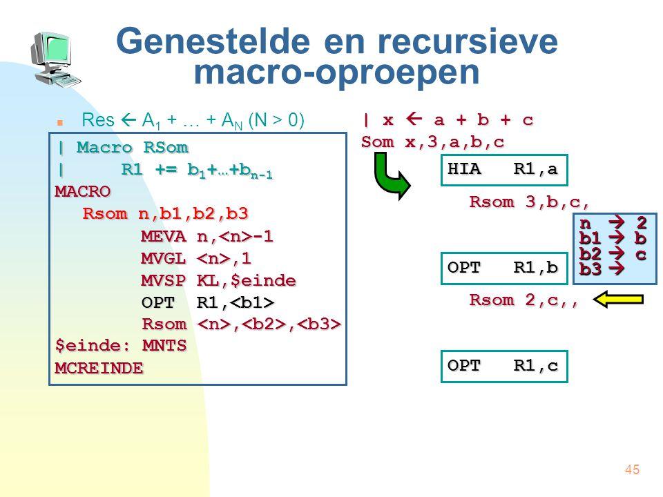 45 Genestelde en recursieve macro-oproepen Res  A 1 + … + A N (N > 0) | x  a + b + c Som x,3,a,b,c HIA R1,a Rsom 3,b,c, | Macro RSom | R1 += b 1 +…+b n-1 MACRO Rsom n,b1,b2,b3 MCREINDE MEVA n, -1 MVGL,1 MVSP KL,$einde OPT R1, OPT R1, Rsom,, Rsom,, $einde: MNTS OPT R1,b Rsom 2,c,, OPT R1,c n  2 b1  b b2  c b3 