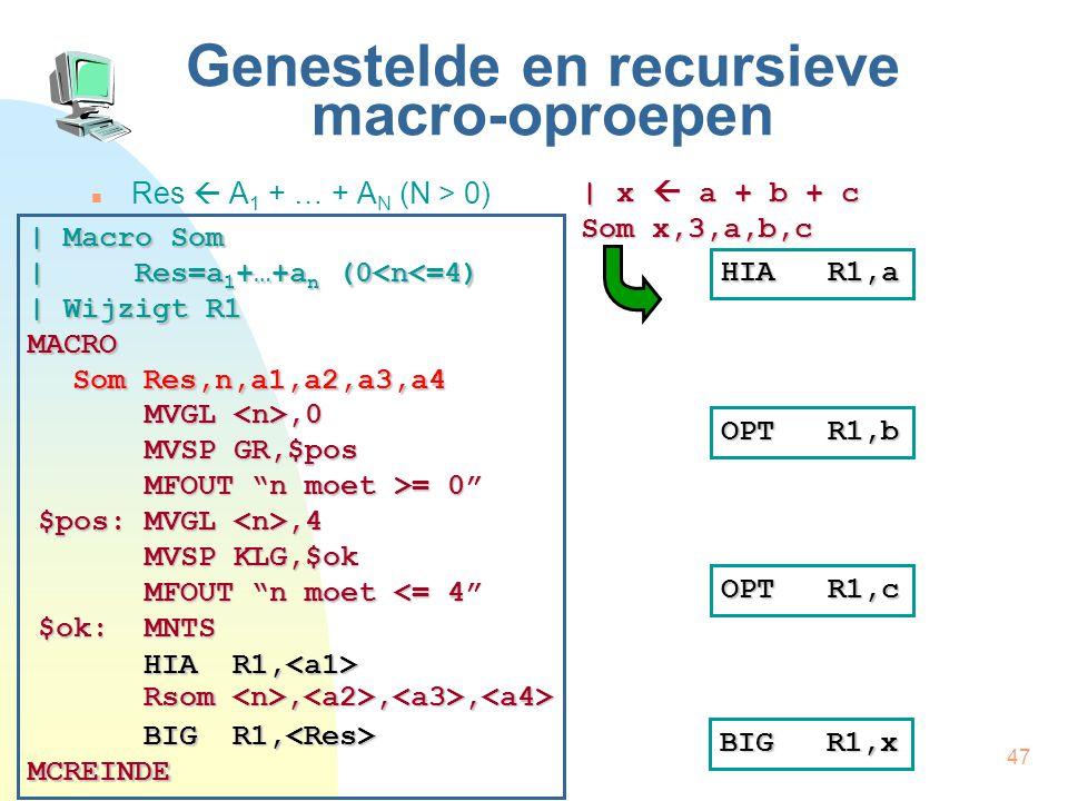 47 Genestelde en recursieve macro-oproepen Res  A 1 + … + A N (N > 0) | x  a + b + c Som x,3,a,b,c HIA R1,a OPT R1,b OPT R1,c | Macro Som | Res=a 1 +…+a n (0<n<=4) | Wijzigt R1 MACRO Som Res,n,a1,a2,a3,a4 MCREINDE HIA R1, HIA R1, Rsom,,, Rsom,,, BIG R1, BIG R1, MVGL,0 MVSP GR,$pos MFOUT n moet >= 0 $pos: MVGL,4 MVSP KLG,$ok MFOUT n moet <= 4 $ok:MNTS BIG R1,x