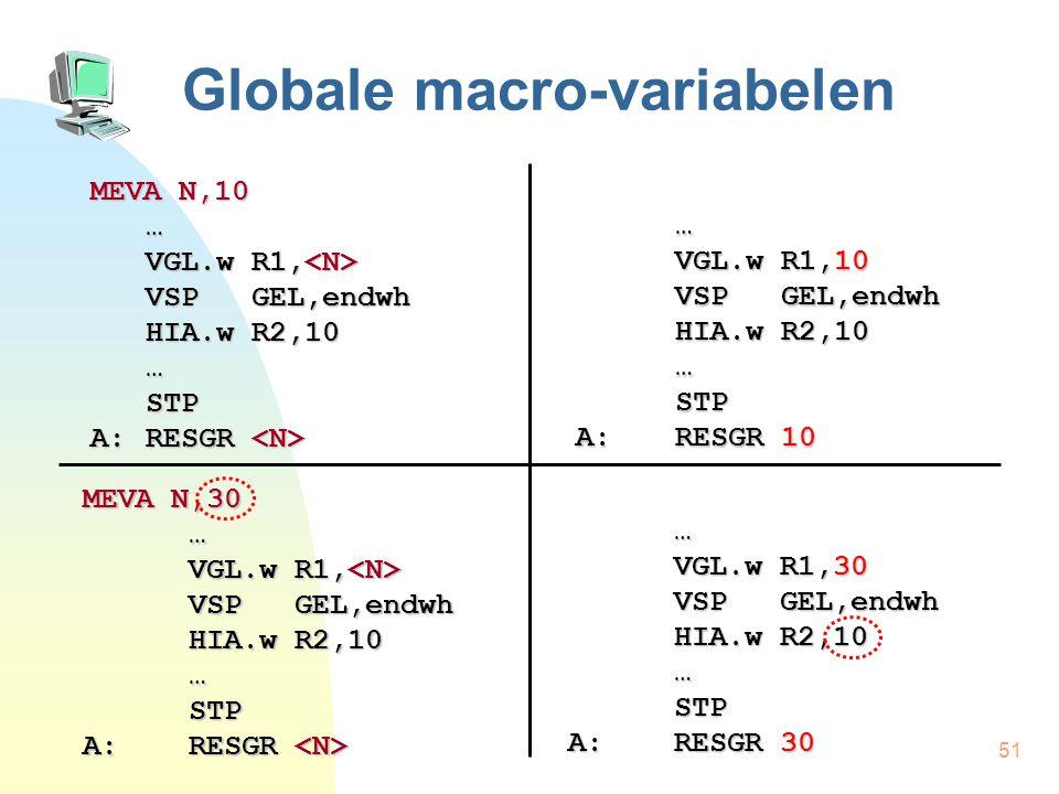 51 Globale macro-variabelen MEVA N,10 … VGL.w R1, VGL.w R1, VSP GEL,endwh HIA.w R2,10 …STP A:RESGR A:RESGR … VGL.w R1,10 VSP GEL,endwh HIA.w R2,10 …STP A:RESGR 10 MEVA N,30 … VGL.w R1, VGL.w R1, VSP GEL,endwh HIA.w R2,10 …STP A:RESGR A:RESGR … VGL.w R1,30 VSP GEL,endwh HIA.w R2,10 …STP A:RESGR 30