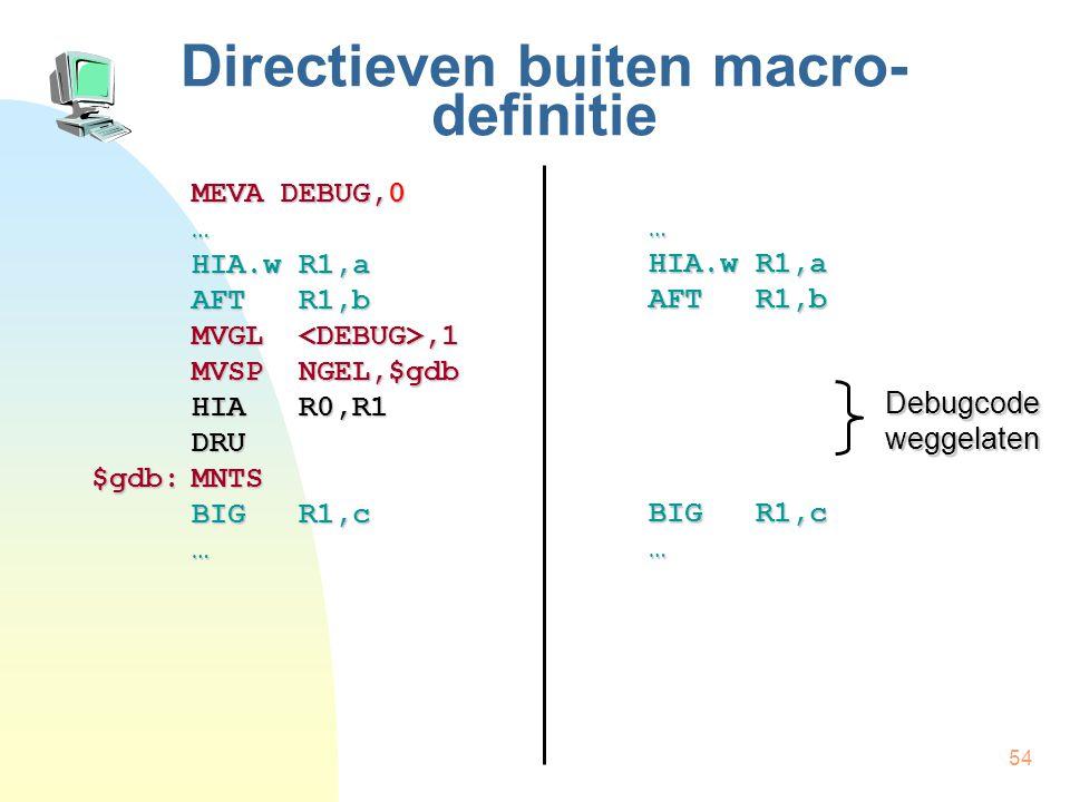 54 Directieven buiten macro- definitie MEVA DEBUG,0 … HIA.w R1,a AFT R1,b MVGL,1 MVSP NGEL,$gdb HIA R0,R1 DRU $gdb:MNTS BIG R1,c … … HIA.w R1,a AFT R1,b BIG R1,c … Debugcode weggelaten