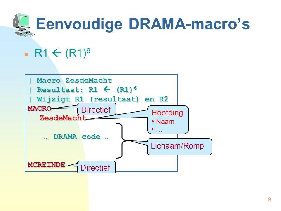 9 Eenvoudige DRAMA-macro's R1  (R1) 6 | Macro ZesdeMacht | Resultaat: R1  (R1) 6 | Wijzigt R1 (resultaat) en R2 MACROZesdeMacht … DRAMA code … … DRAMA code …MCREINDE Directief Hoofding Naam … Lichaam/Romp