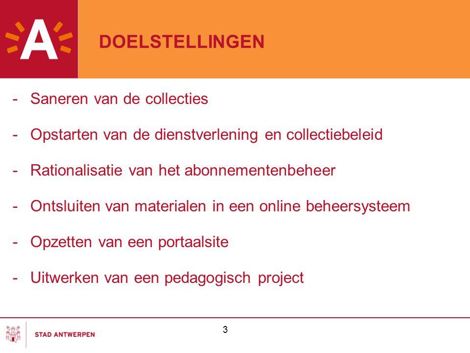 DOELSTELLINGEN -Saneren van de collecties -Opstarten van de dienstverlening en collectiebeleid -Rationalisatie van het abonnementenbeheer -Ontsluiten
