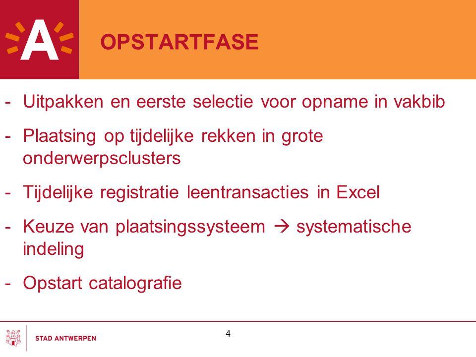 OPSTARTFASE -Uitpakken en eerste selectie voor opname in vakbib -Plaatsing op tijdelijke rekken in grote onderwerpsclusters -Tijdelijke registratie le