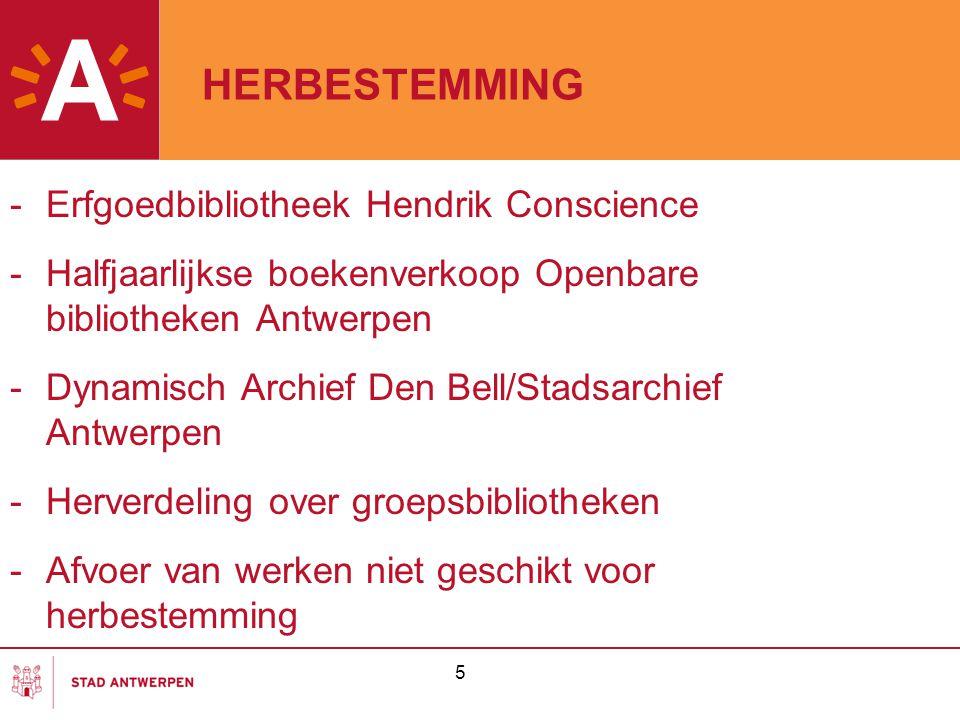 HERBESTEMMING -Erfgoedbibliotheek Hendrik Conscience -Halfjaarlijkse boekenverkoop Openbare bibliotheken Antwerpen -Dynamisch Archief Den Bell/Stadsar