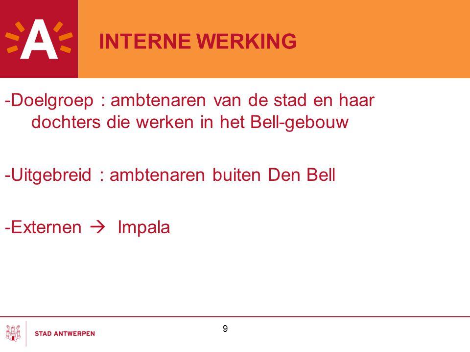 INTERNE WERKING -Doelgroep : ambtenaren van de stad en haar dochters die werken in het Bell-gebouw -Uitgebreid : ambtenaren buiten Den Bell -Externen
