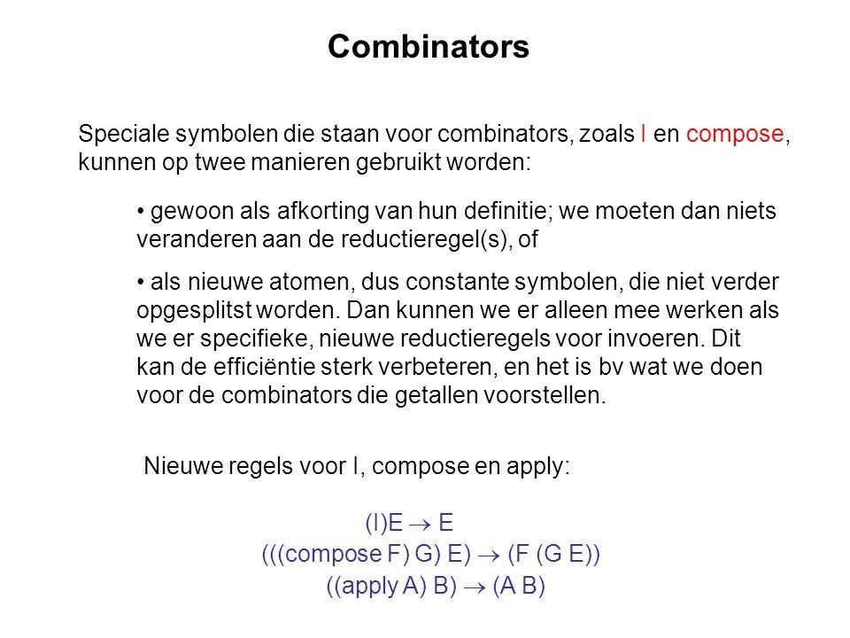 Combinators Speciale symbolen die staan voor combinators, zoals I en compose, kunnen op twee manieren gebruikt worden: gewoon als afkorting van hun de
