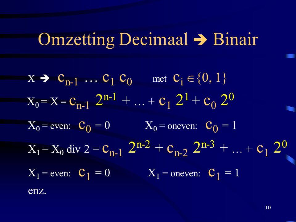 10 Omzetting Decimaal  Binair X  c n-1 … c 1 c 0 met c i  {0, 1} X 0 = X = c n-1 2 n-1 + … + c 1 2 1 + c 0 2 0 X 0 = even: c 0 = 0 X 0 = oneven: c