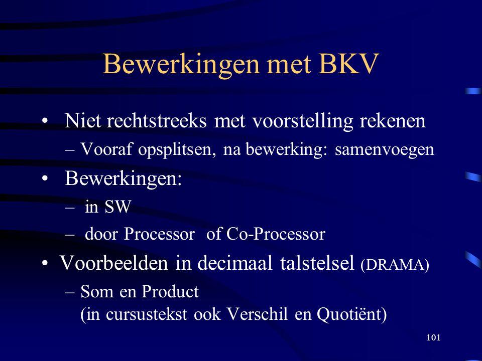 101 Bewerkingen met BKV Niet rechtstreeks met voorstelling rekenen –Vooraf opsplitsen, na bewerking: samenvoegen Bewerkingen: – in SW – door Processor