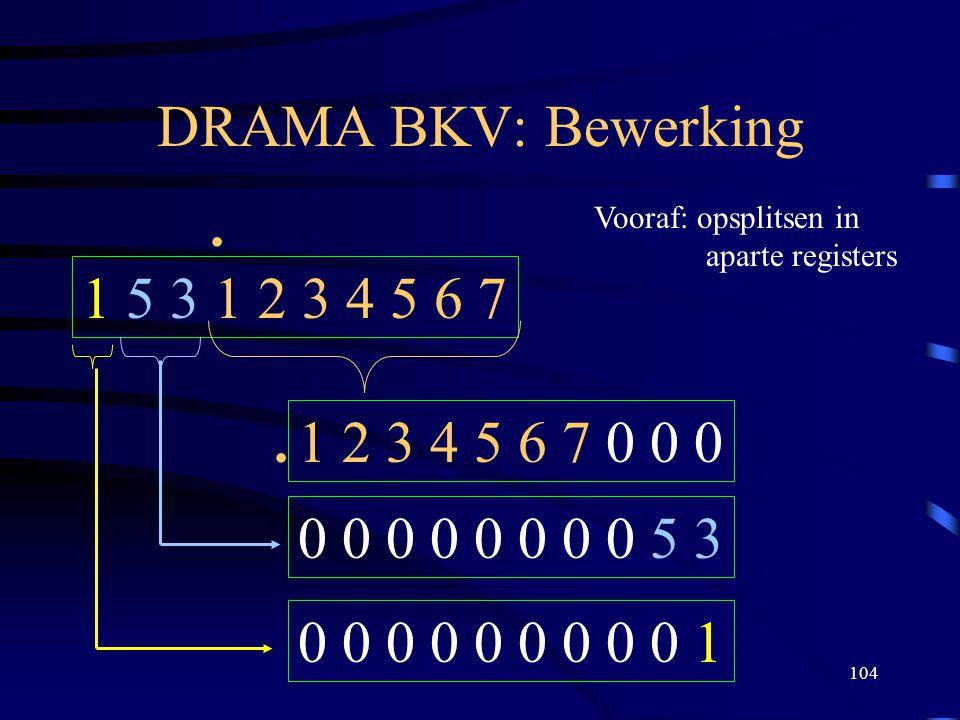 104 DRAMA BKV: Bewerking 1 5 3 1 2 3 4 5 6 7. 1 2 3 4 5 6 7 0 0 0 Vooraf: opsplitsen in aparte registers 0 0 0 0 0 0 0 0 5 3 0 0 0 0 0 0 0 0 0 1.