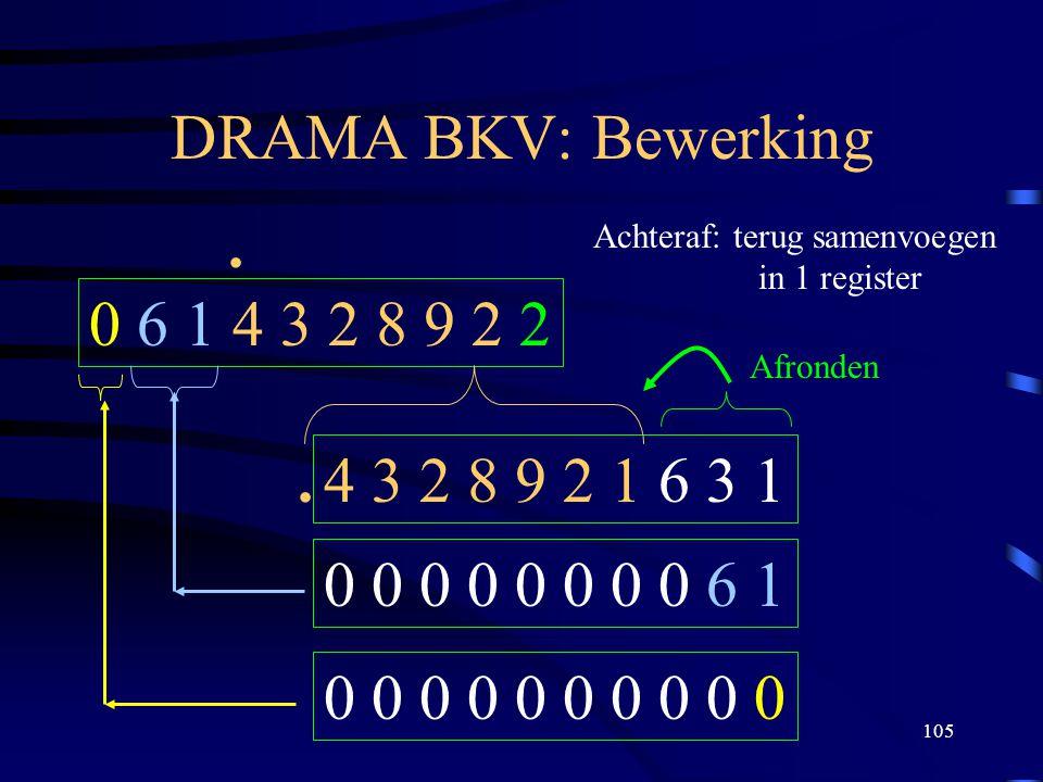 105 DRAMA BKV: Bewerking 0 6 1 4 3 2 8 9 2 2. 4 3 2 8 9 2 1 6 3 1 Achteraf: terug samenvoegen in 1 register 0 0 0 0 0 0 0 0 6 1 0 0 0 0 0. Afronden