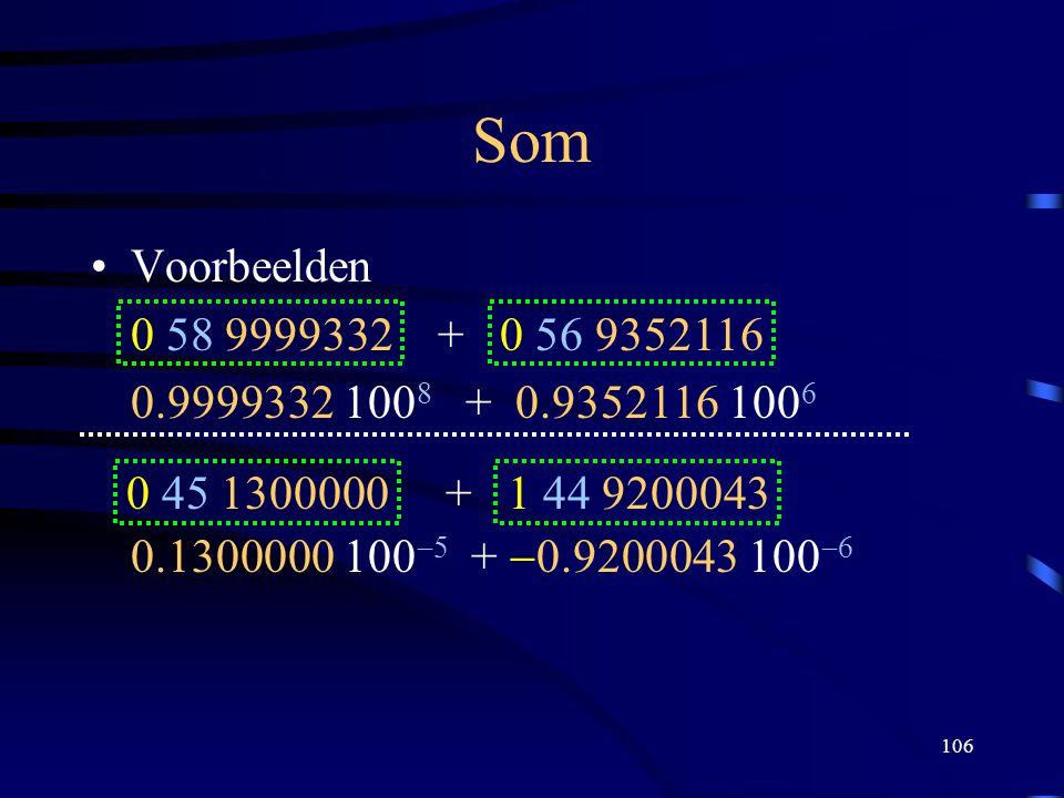 106 Som Voorbeelden 0 58 9999332 + 0 56 9352116 0.9999332 100 8 + 0.9352116 100 6 0 45 1300000 + 1 44 9200043 0.1300000 100  5 +  0.9200043 100  6