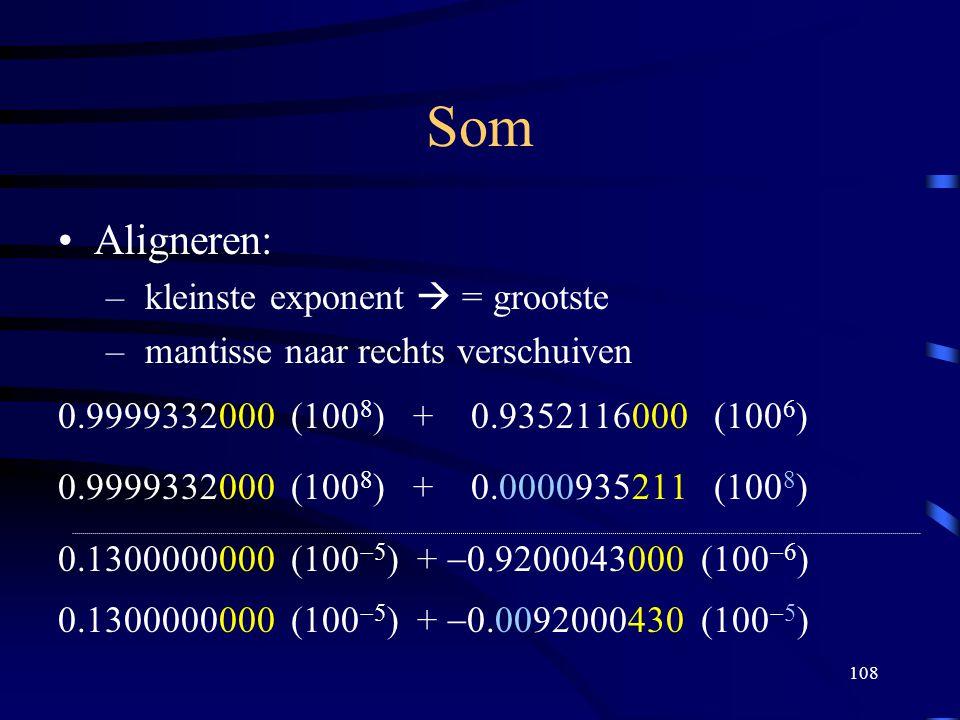 108 Som Aligneren: – kleinste exponent  = grootste – mantisse naar rechts verschuiven 0.9999332000 (100 8 ) + 0.9352116000 (100 6 ) 0.9999332000 (100