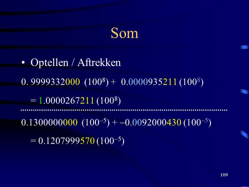 109 Som Optellen / Aftrekken 0. 9999332000 (100  ) + 0.0000935211 (100  ) = 1.0000267211 (100  ) 0.1300000000 (100  5 ) +  0.0092000430 (100  5