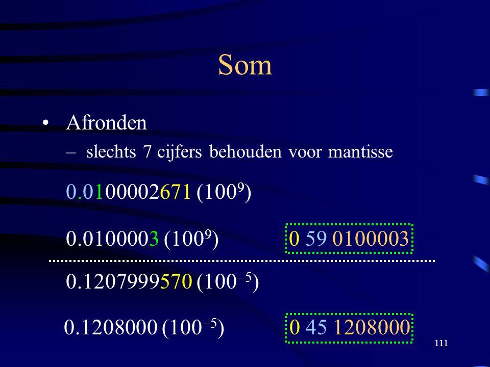111 Som Afronden – slechts 7 cijfers behouden voor mantisse 0.0100002671 (100  ) 0.0100003 (100  ) 0 59 0100003 0.1207999570 (100  5 ) 0.1208000 (1