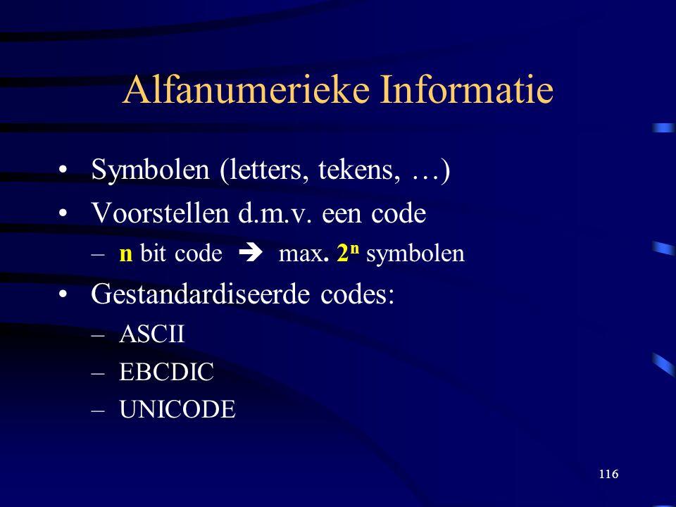 116 Alfanumerieke Informatie Symbolen (letters, tekens, …) Voorstellen d.m.v. een code – n bit code  max. 2 n symbolen Gestandardiseerde codes: – ASC